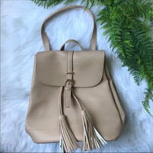 [No Brand] Tan Leather Backpack Purse w Tassels
